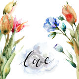 Original Spring flowers with title love Stock Photography