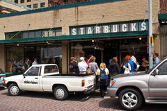 The original Starbucks store in Seattle Stock Image