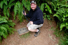 Original Stash Geocache. This is an image of me visiting the Original Stash geocache, this is the first ever placed geocache in history Royalty Free Stock Photo