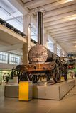 The original Stephenson`s Rocket steam train on display in the Science Museum, London, England stock photography