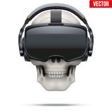 Original stereoscopic 3d VR headset and skull stock illustration
