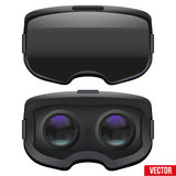 Original- stereoskopisk hörlurar med mikrofon för 3d VR inom royaltyfri illustrationer