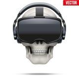 Original- stereoskopisk hörlurar med mikrofon och skalle för 3d VR Fotografering för Bildbyråer