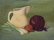 Original Still Life Oil Painting on Canvas: Vegetables, Pitcher vector illustration