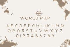 Original- stilsort i form av en världskarta med en retro kompass på bakgrunden Latinska bokstäver och nummer för turism stock illustrationer