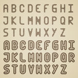 Original striped font alphabet Royalty Free Stock Images