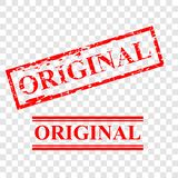 Original, 2 style streak red rubber stamp, at transparent effect background stock photos