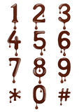 Original stylish numbers made of melted chocolate isolated. On white background Stock Photos