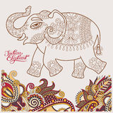 Original stylized ethnic indian elephant pattern drawing and han Royalty Free Stock Photos