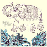Original stylized ethnic indian elephant pattern drawing and han Royalty Free Stock Photo