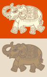 Original stylized ethnic indian elephant pattern drawing Stock Photos