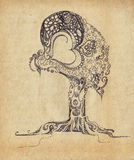 Original stylized tree. Painted black on the background of old paper stock illustration