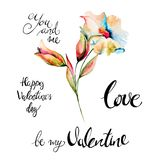 Original Summer flowers with title Happy Valentine's day. Original Summer flowers with title Happy Valentine's day, watercolor illustrationю Hand drawn Royalty Free Stock Photo
