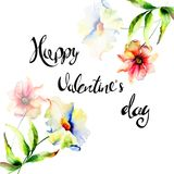 Original Summer flowers with title Happy Valentine's day. Original Summer flowers with title Happy Valentine's day, watercolor illustration, Template for Royalty Free Stock Image