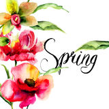 Original Summer flowers with title Spring Stock Image