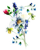 Original Summer flowers. Watercolor illustration Stock Photography