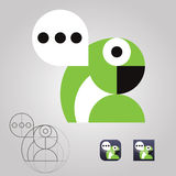 Original talking parrot logo icon communication messages Stock Photo