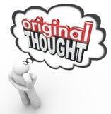 Original- tanke 3d uttrycker idérik fantasirik ny idé för tänkare Arkivbild