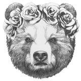 Original- teckning av björnen med den blom- head kransen stock illustrationer