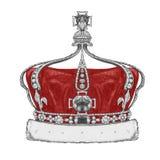 Original- teckning av kronan stock illustrationer