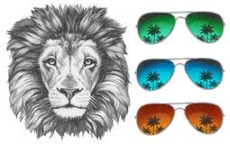 Original- teckning av lejonet med solglasögon royaltyfri illustrationer