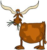 Original Texas longhorn. This illustration depicts a cow with giant horns and a pattern of the state of Texas on its side Stock Images