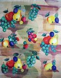 Original textile fabric ornament. Crock is hand-painted Stock Image
