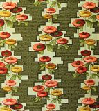 Original textile fabric ornament of the Flowers. Crock is hand-painted with gouache. Beginning of the XX century: Original textile fabric ornament of the Modern Royalty Free Stock Photography