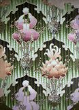 Original textile fabric ornament of the Iris Flowers. Crock is hand-painted with gouache. Royalty Free Stock Image