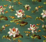 Original textile fabric ornament of the Lily. Crock is hand-painted with gouache. Beginning of the XX century: Original textile fabric ornament of the Modern Royalty Free Stock Images