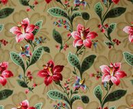 Original textile fabric ornament of the Lily. Crock is hand-painted with gouache. Beginning of the XX century: Original textile fabric ornament of the Modern Stock Illustration