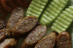 Original Thai sausage. This sausage is one kind of foods in northern Thailand royalty free stock photo