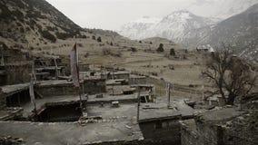 Original Tibetan stone village. Around Annapurna trekking trail, Nepal stock video