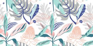 Original trendy seamless artistic flower pattern, beautiful tropical floral exotic background. Vector illustration royalty free illustration