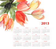 Original Tulips flowers. Calendar for 2013 with Tulips flowers, Watercolor painting royalty free illustration