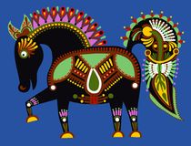 Original ukrainian tribal animal painting, Royalty Free Stock Images