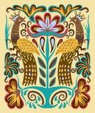 Original- ukrainsk hand dragen etnisk dekorativ modell med två Arkivfoto