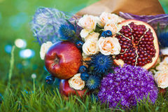 The original unusual edible bouquet of fruits Stock Photos