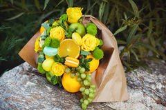 The original unusual edible bouquet of fruits Stock Photography