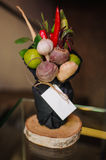 The original unusual edible vegetable and fruit bouquet  with card Royalty Free Stock Photos