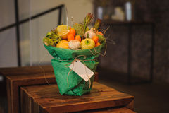 The original unusual edible vegetable and fruit bouquet  with card Royalty Free Stock Image