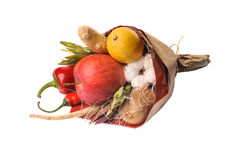 The original unusual edible vegetable and fruit bouquet isolated Royalty Free Stock Photography