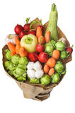 The original unusual edible vegetable and fruit bouquet   on white Stock Photos