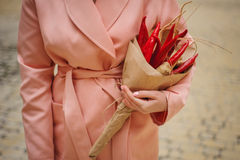 The original unusual edible vegetable and fruit bouquet  woman hands Royalty Free Stock Image