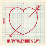 Original Valentine's Day card on graph paper Stock Photography