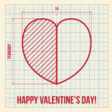 Original Valentine's Day card on graph paper. Original and creative Valentine's Day greeting card on graph paper background Stock Photo