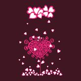 Original valentine tree under heart rain. Royalty Free Stock Photos