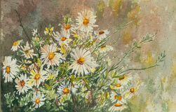Original- vattenfärgmålning av lösa blommor stock illustrationer