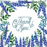 Original- vattenfärgram av blåa blommor Arkivfoto