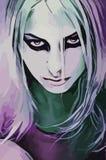Original vector image girl. Look gothic wolf girl original vector image graphic drawing stock illustration
